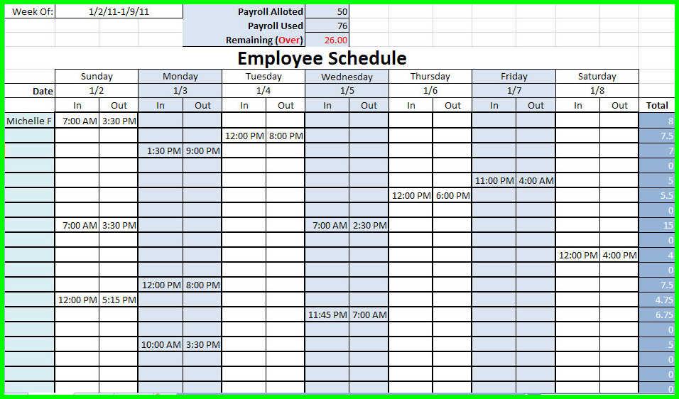 employee schedule calendar