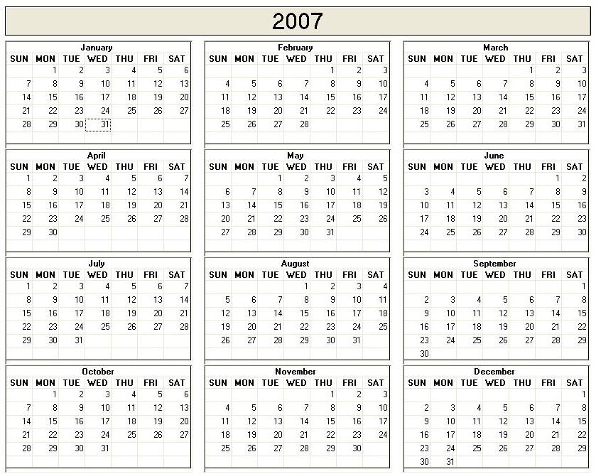 2007 Printable Blank Calendar