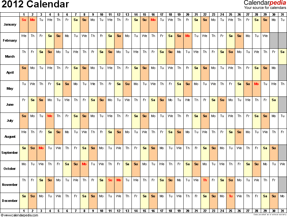 2012 Calendar Excel