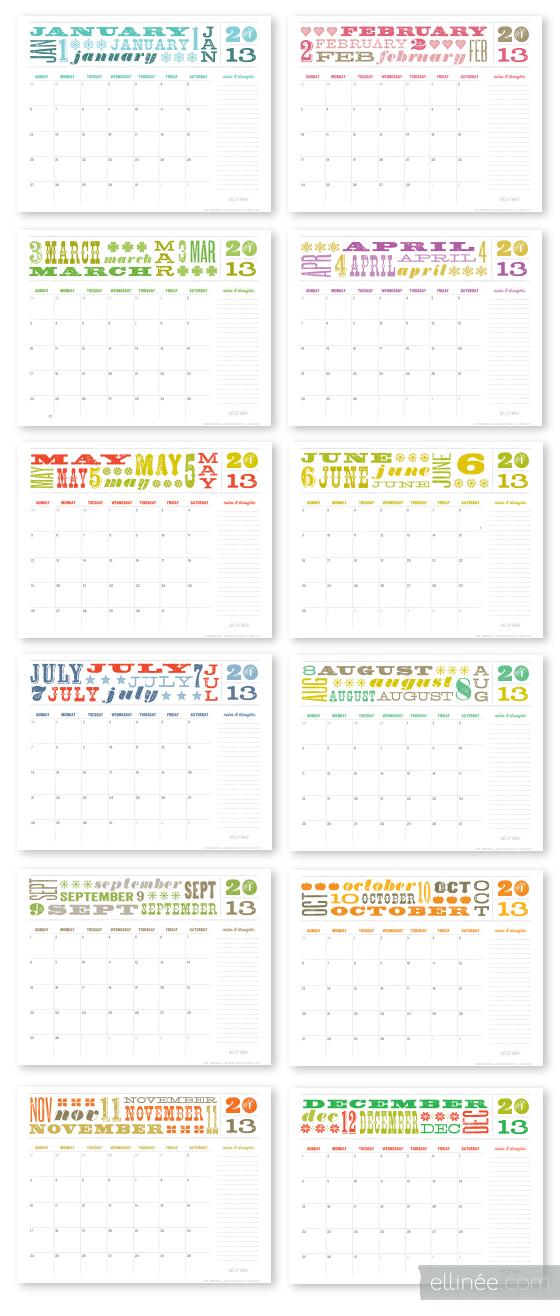 2013 Printable Calendar