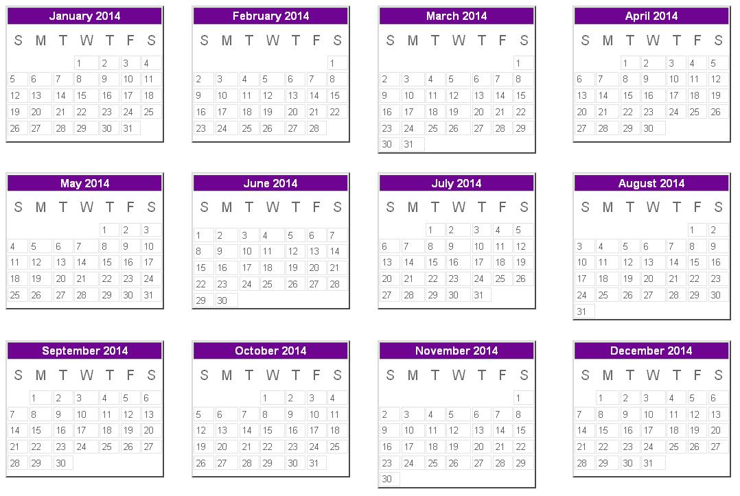 2014 Calendar Uk