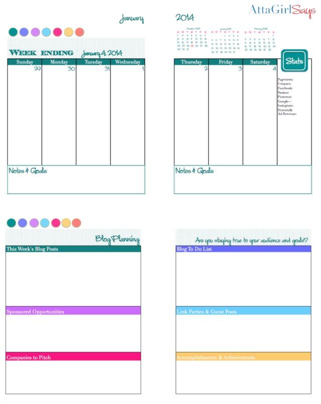 2014 Free Printable Daily Planner & Blog Calendar