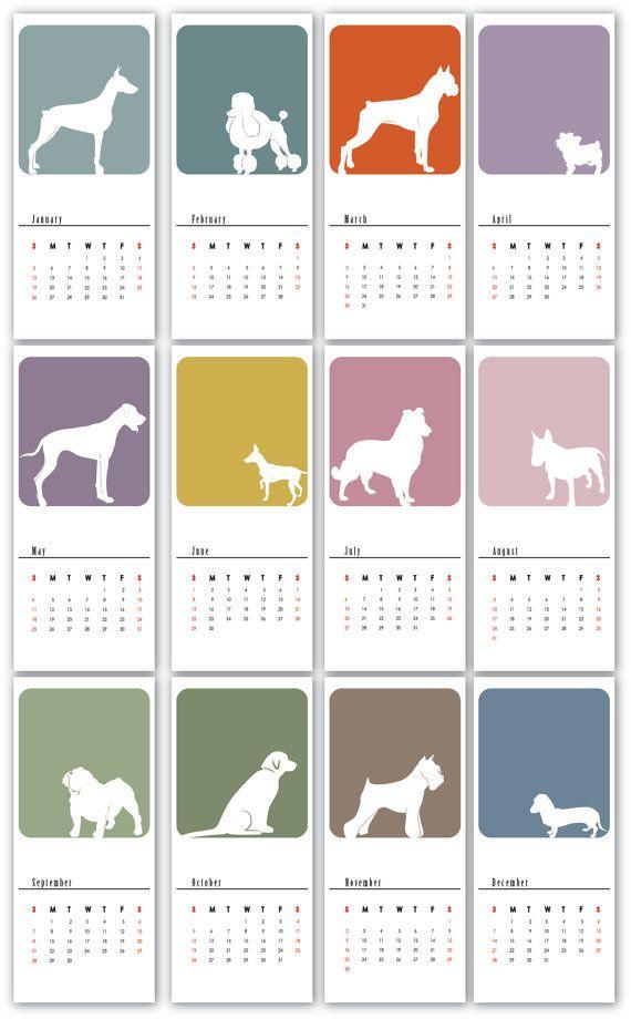 2014 Printable Doggie Calendar