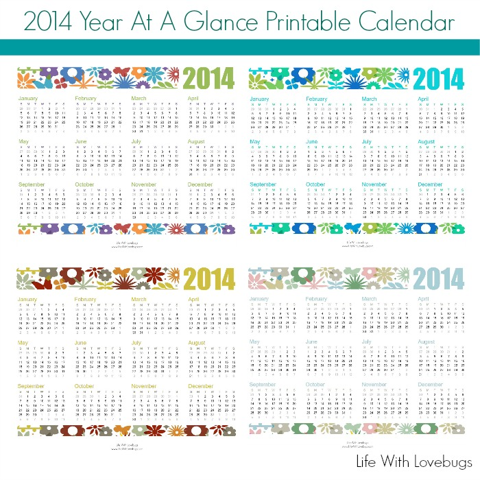 2014 Year At A Glance Printable Calendar