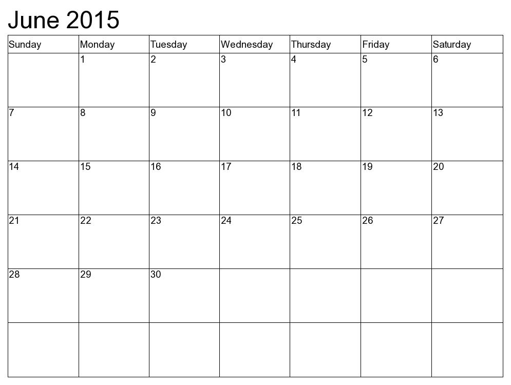 2015 Blank Calendar Printable 12 Month Simple Template