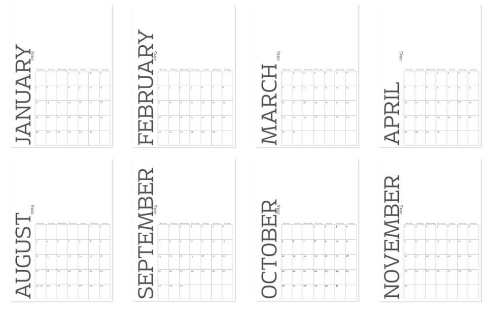 2015 Customisable Printable Wall Calendar