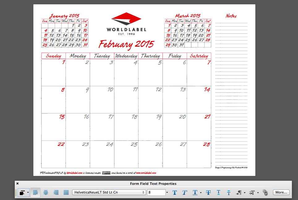 2015 Editable Fillable Pdf Calendar Template From Worldlabel
