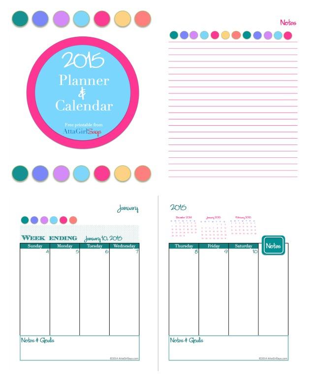 2015 Free Printable Blog Planner And Calendar
