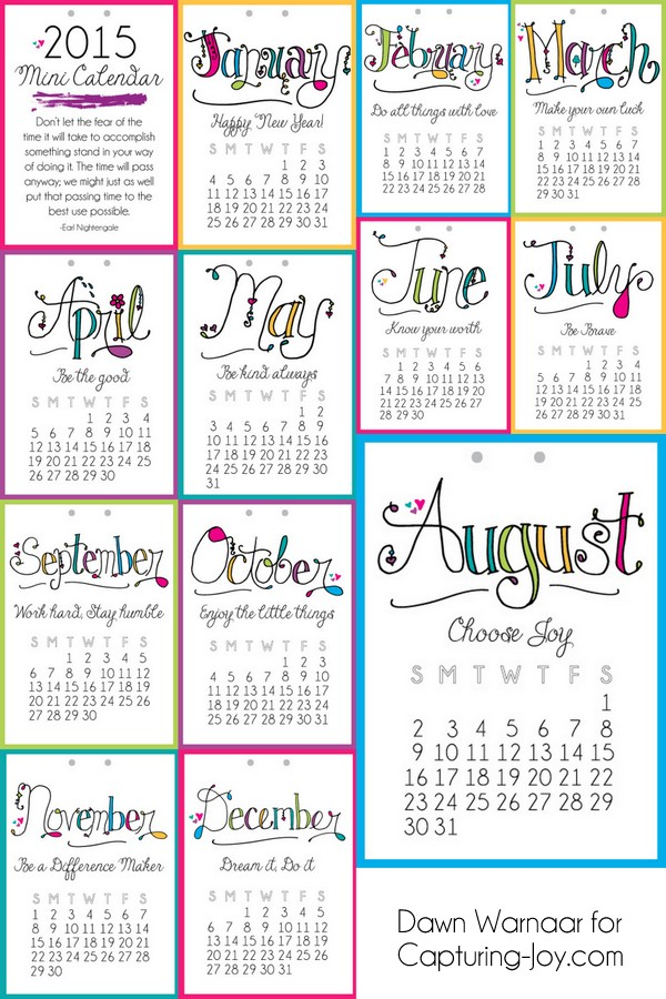 2015 Printable Mini Calendar