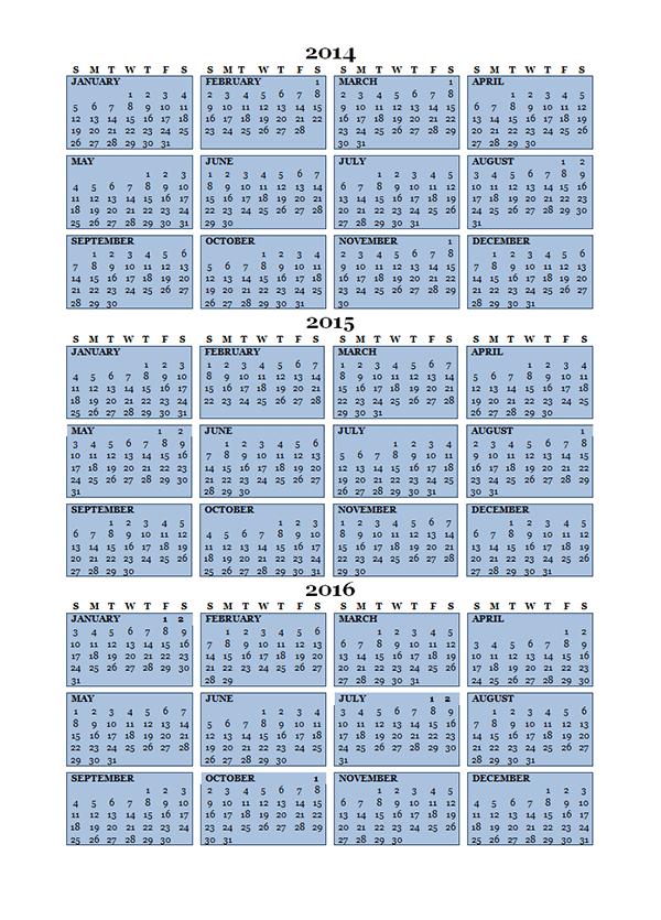 2015 Three Year Calendar