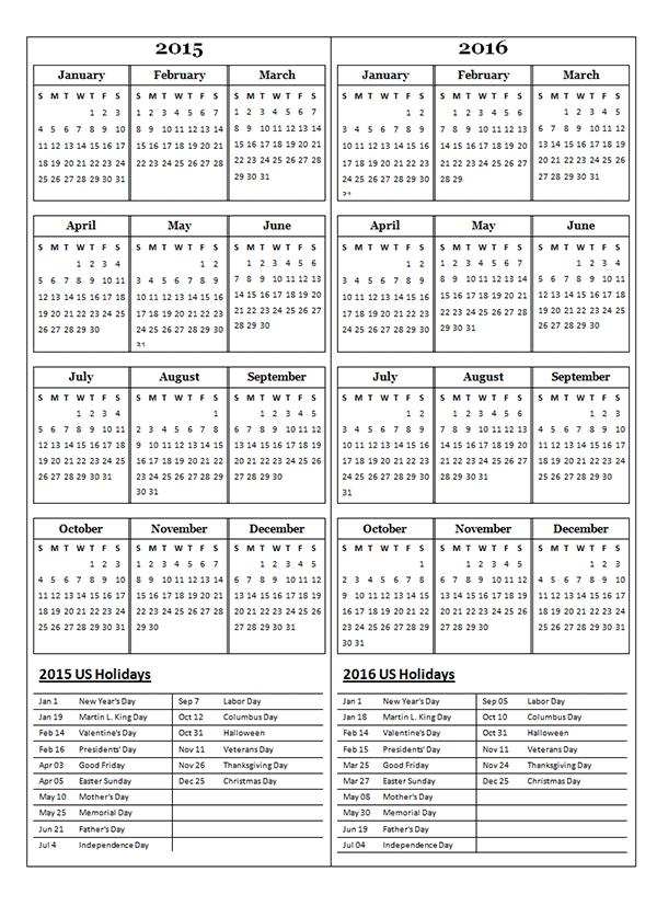 2015 Two Year Calendar