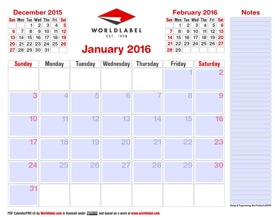 2016 Editable Pro Fillable Pdf Calendar Template
