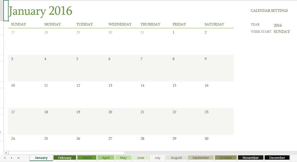 2016 Excel Calendar Templates