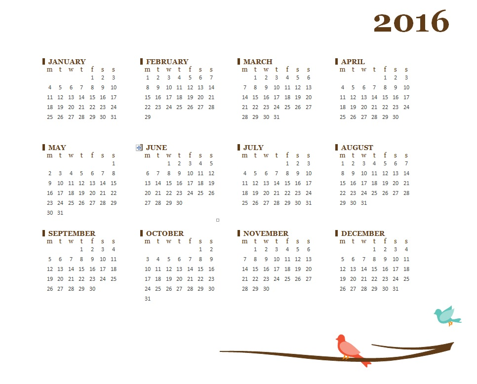 2016 Fiscal Year Calendar Templates