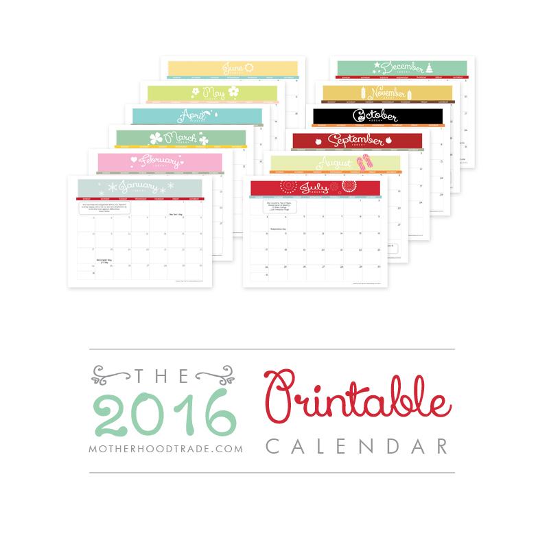 2016 Free Printable Calendars » Lolly Jane