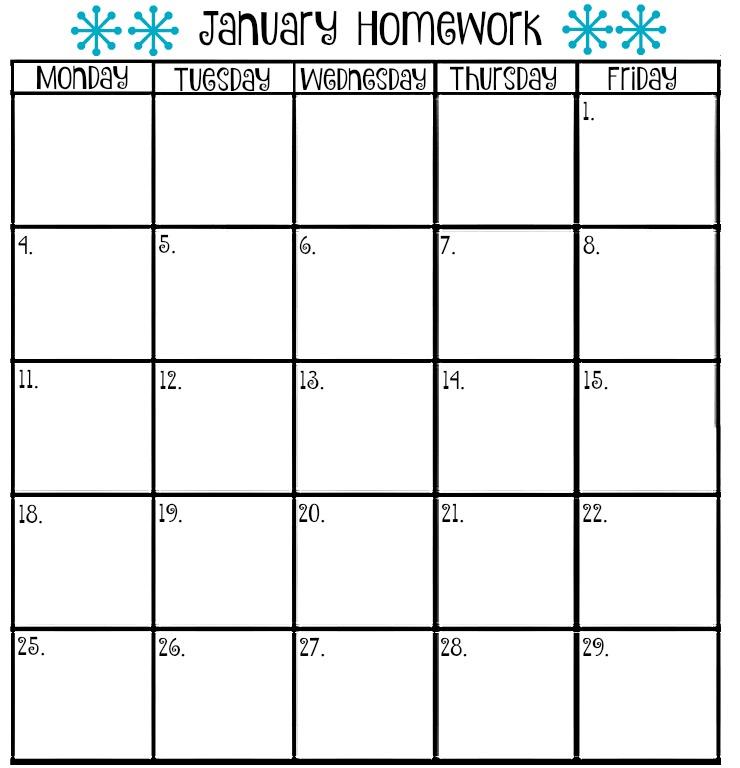 Blank Homework Calendar Template – Blank Calendars 2017