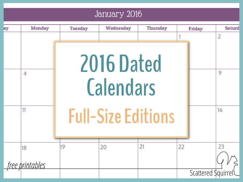2016 Monthly Calendar Printables