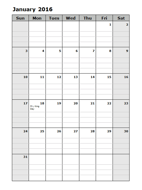 2016 Monthly Calendar Template 15
