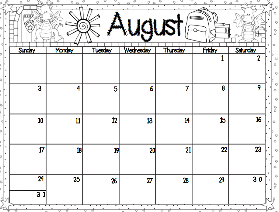 Printable Monthly Calendar Kindergarten : Printable calendar for kindergarten template