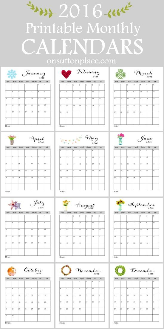 2016 Printable Monthly Calendar