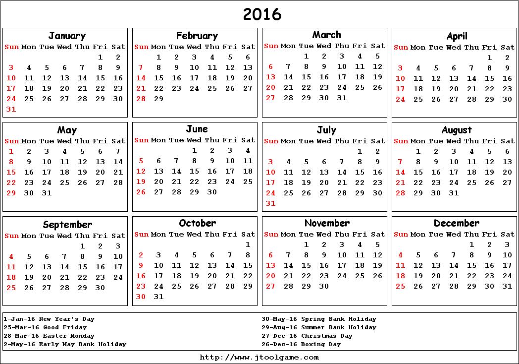 2016 Printable Visitation Calendar