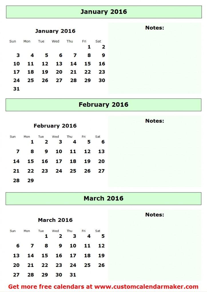 2016 Quarterly Calendar Template