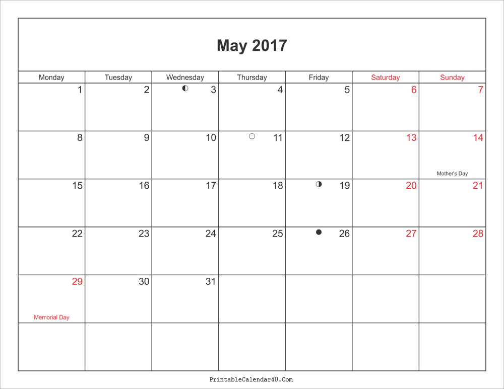 2017 May Calendar With Moonphases Pdf