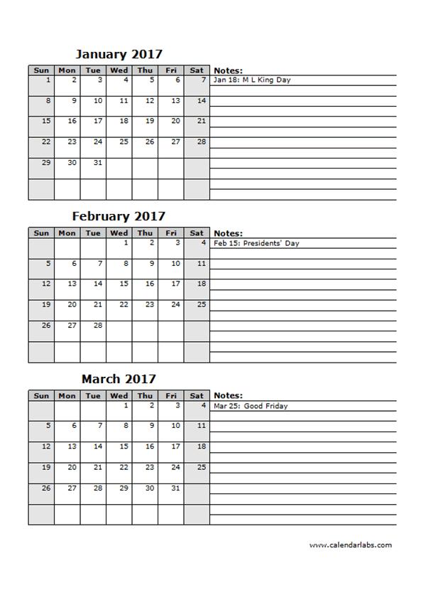 2017 Three Month Calendar Template 12l