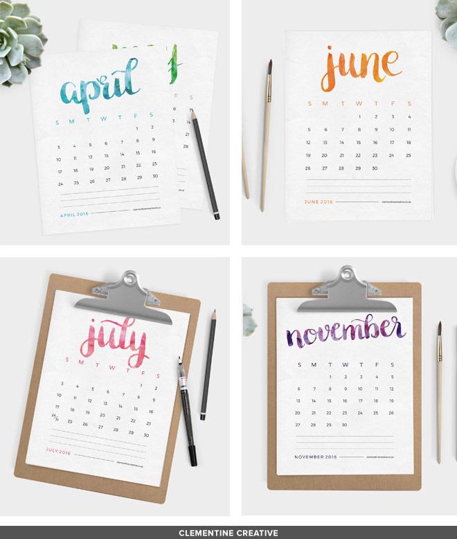 20 Of The Prettiest Printable 2016 Calendars