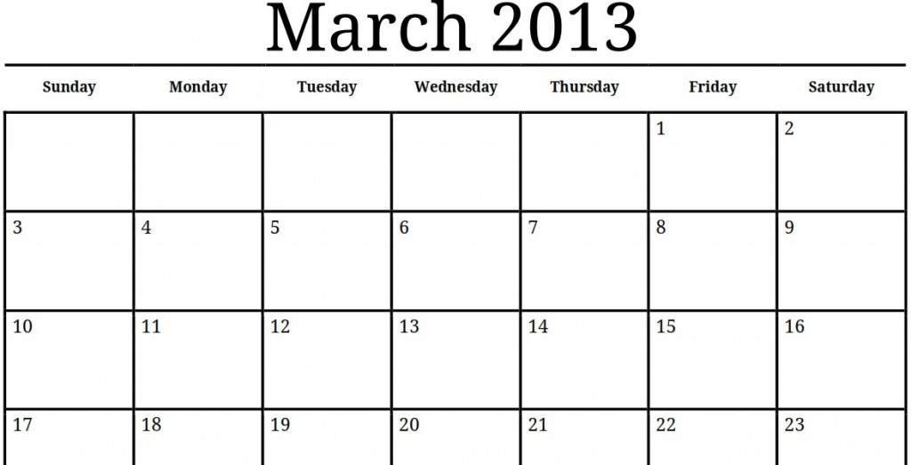 4 Best Images Of 2013 Printable Calendars Templates Pdf