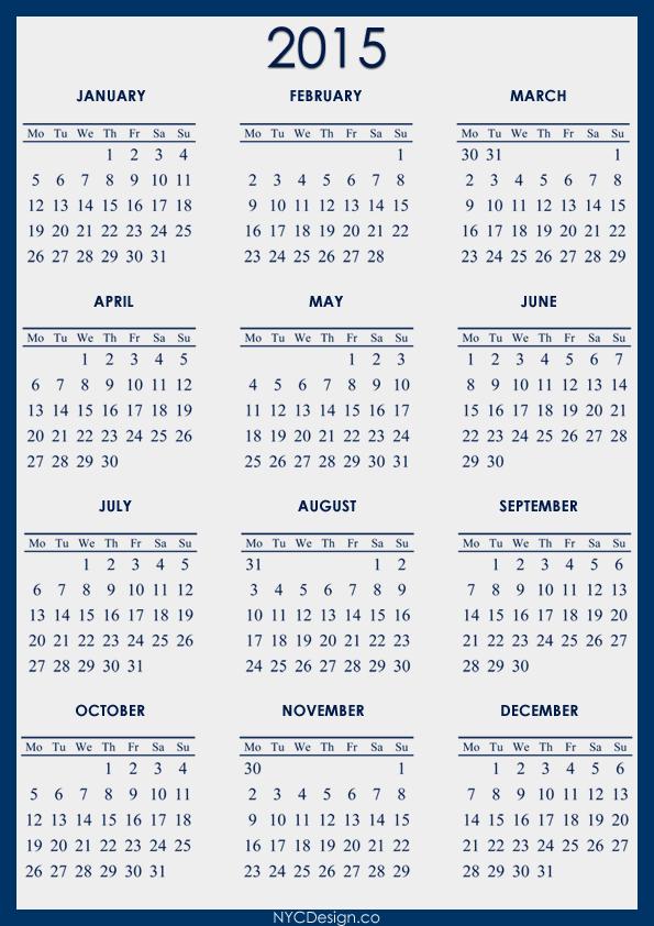 Printable Year Calendar 2015 Idealstalist