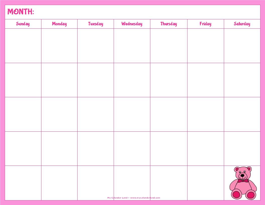 5 Best Images Of Blank Calendar Printable Cute