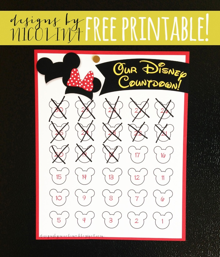 5 Best Images Of Disney Vacation Countdown Calendar Printable