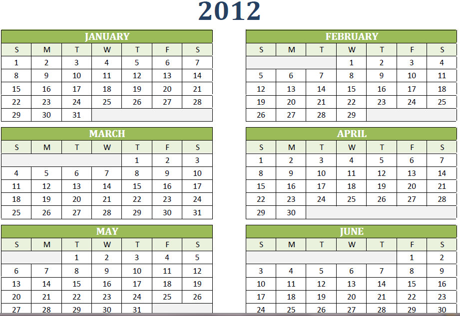 Printable One Year Calendar  Calendar Template