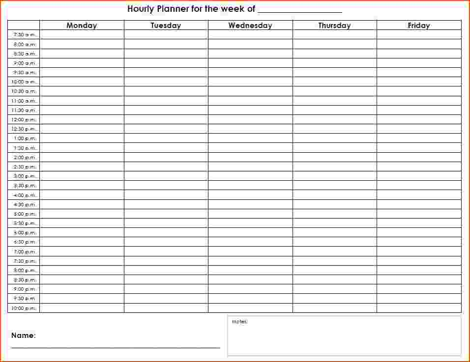 5+ Weekly Hourly Calendar