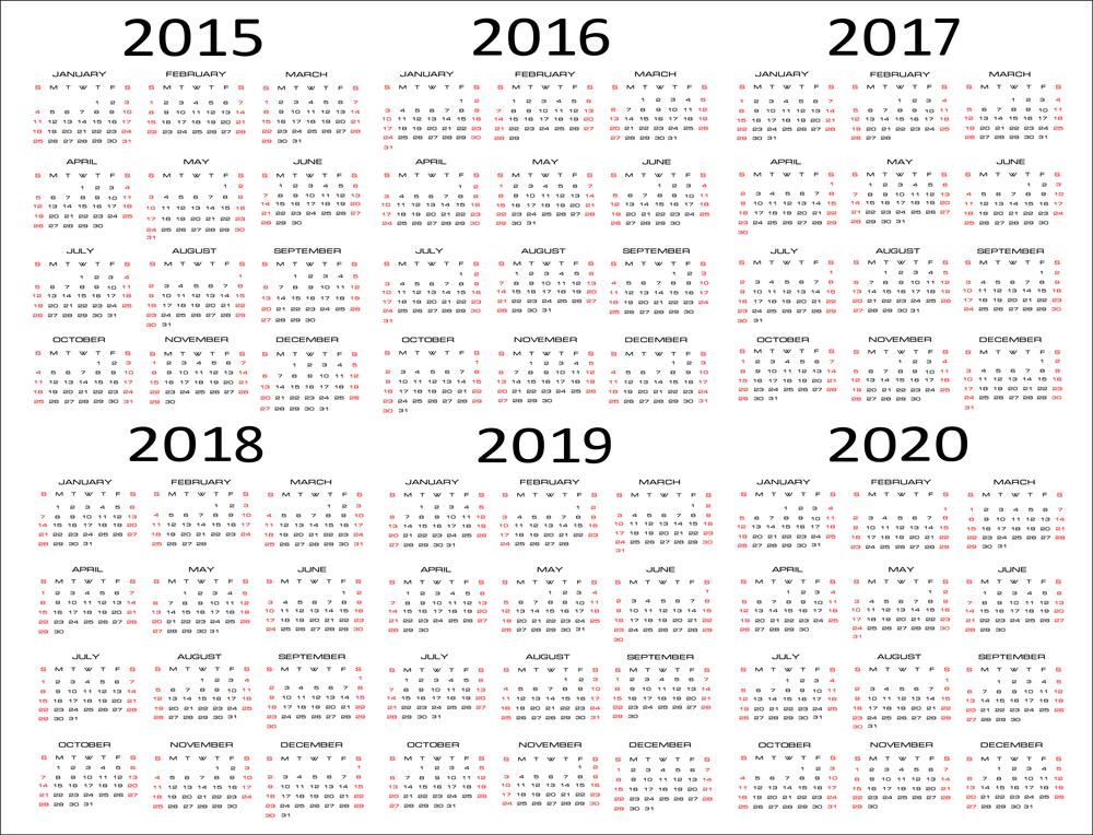 5 Year Calendar 2010 2016 Related Keywords & Suggestions