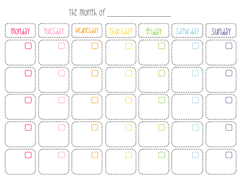6 Best Images Of Cute Free Printable Blank Calendar Templates 2016