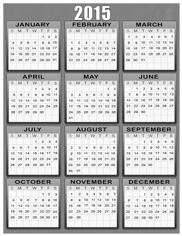 Nice 6 Best Images Of Free Printable Com Yearly Calendars 2015 Photo