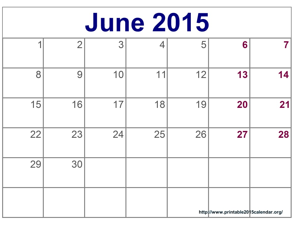6 Best Images Of June Calendar Printable