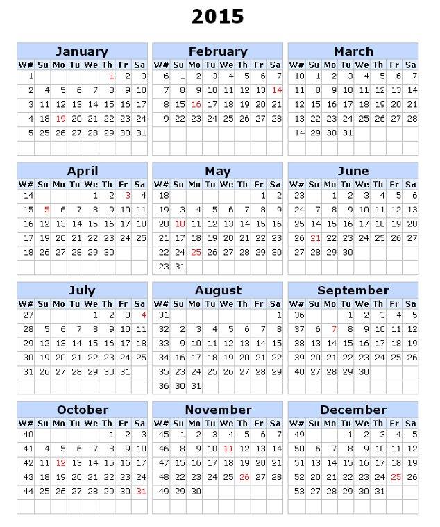 6 Best Images Of Printable 2015 Calendar With Week Numbers