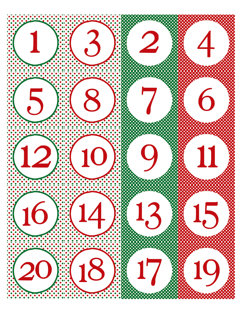 6 Best Images Of Printable Christmas Calendar Numbers