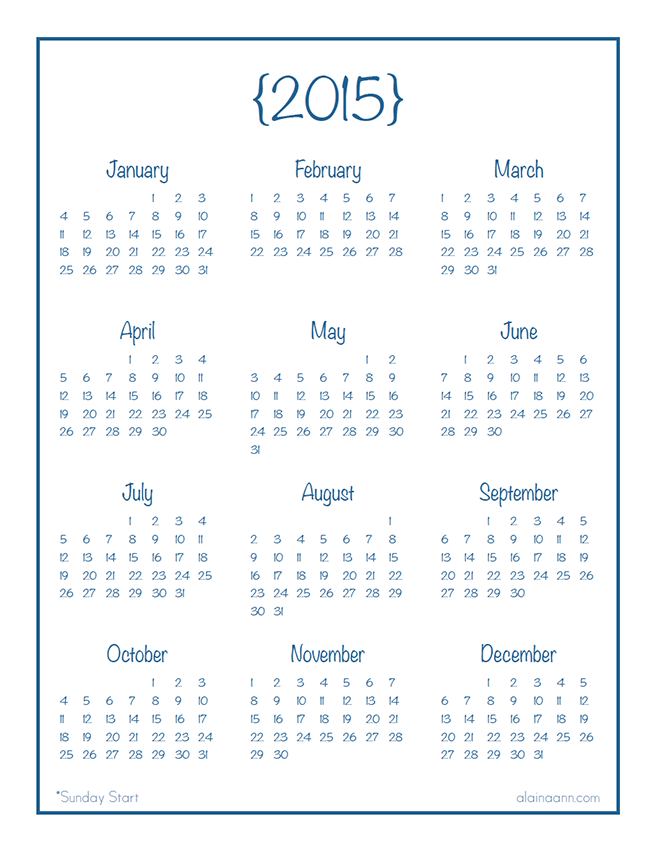 7 Best Images Of 2015 Year At A Glance Printable Calendar