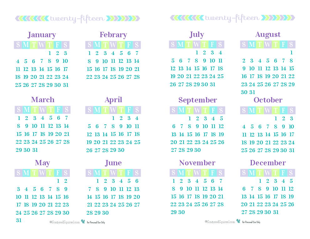 7 Best Images Of 6 Month Calendar 2015 Printable One Page