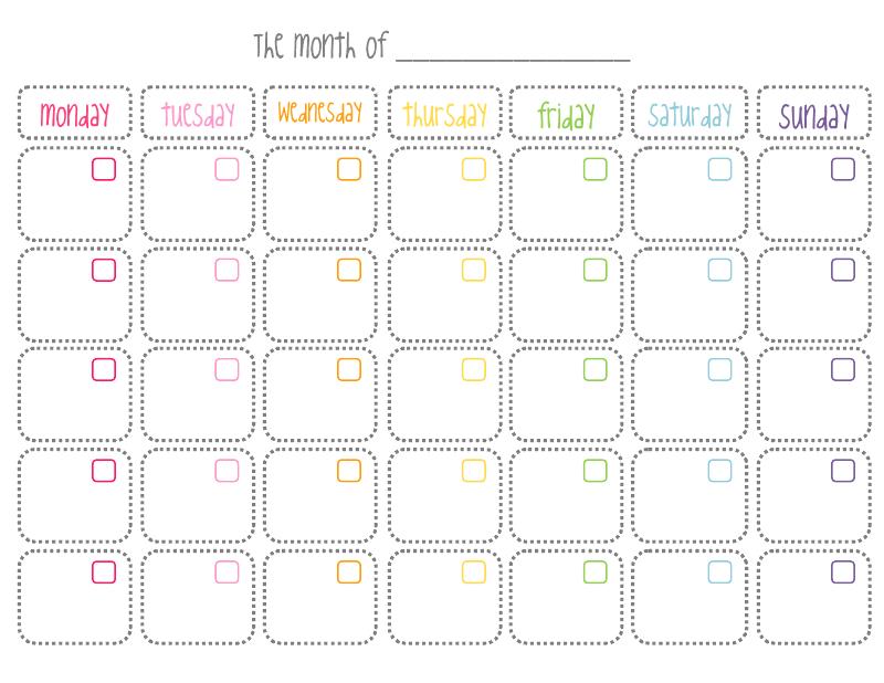 7 Best Images Of Cute Printable Blank Monthly Calendar
