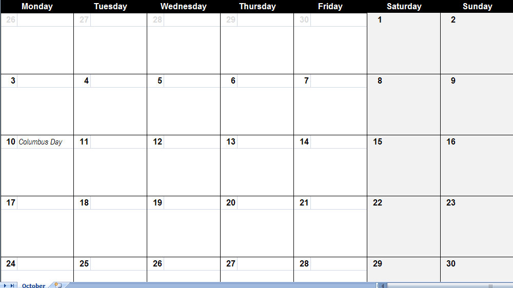 fill in monthly calendar