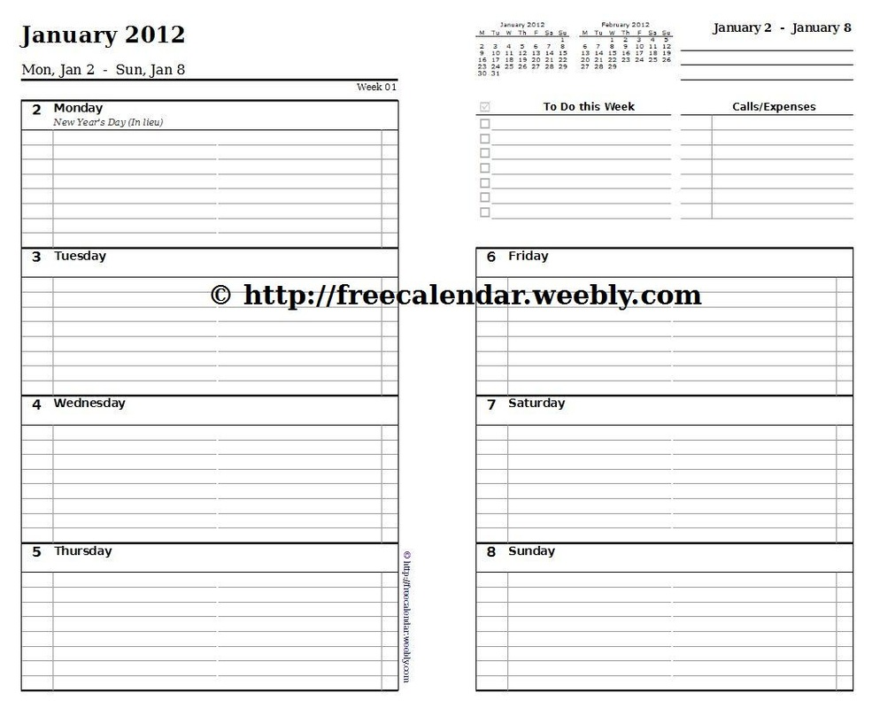 7 Best Images Of Free Weekly Printable Calendar Pages