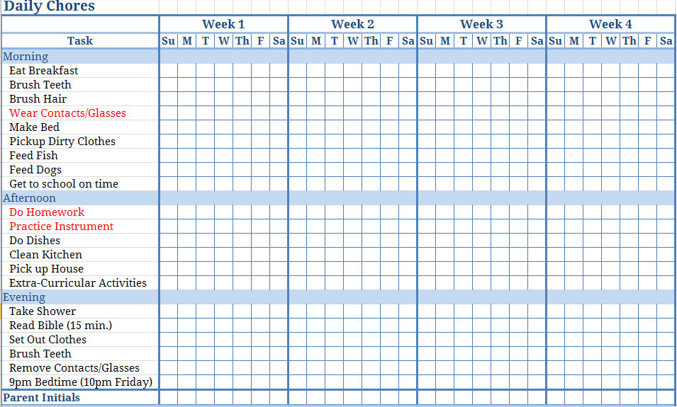 7 Best Images Of Printable Monthly Chore Calendar