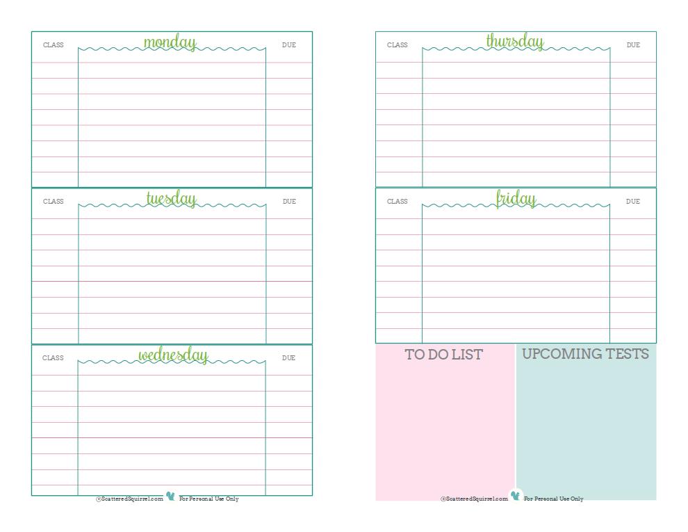 7 Best Images Of School Planner Printable