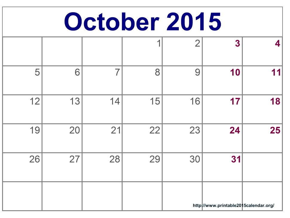 8 Best Images Of 2015 Calendar Printable October