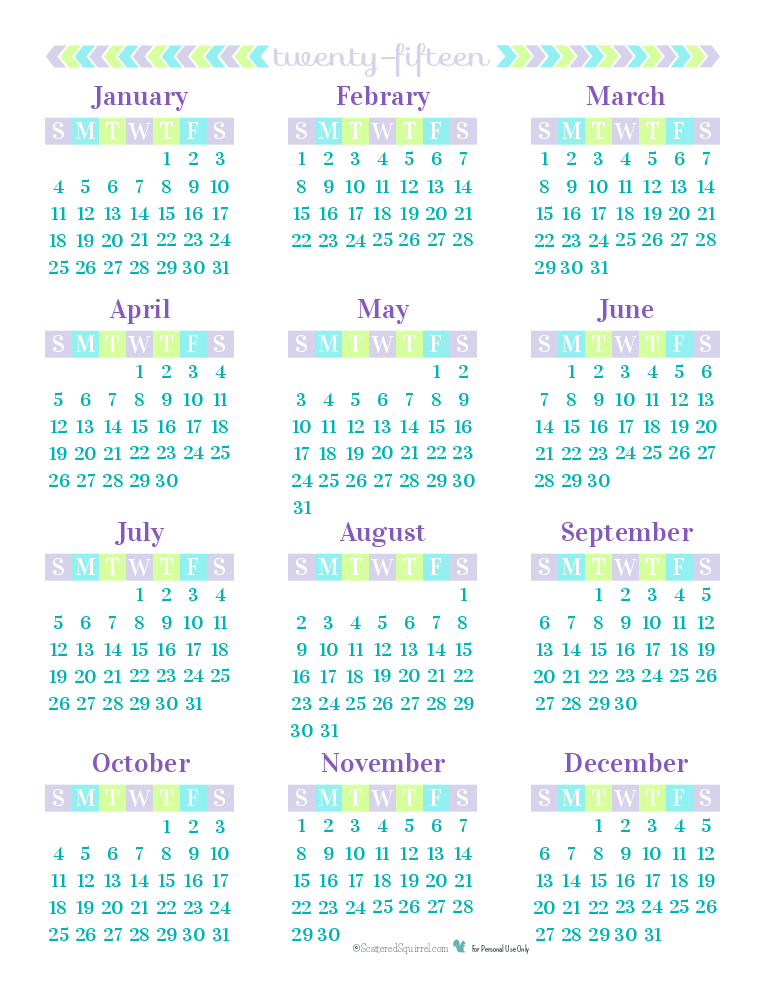 8 Best Images Of 2015 Year Calendar Printable One Page
